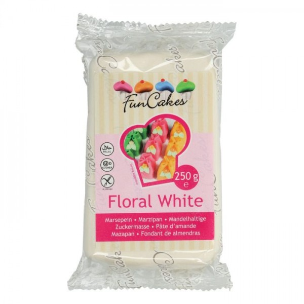 Floral White Marzipan ähnliche Zuckermasse FunCakes - 250gr